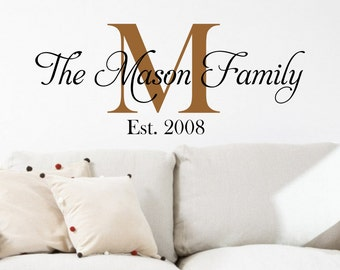 Family Name Decal - Home Vinyl Decal - Family Monograms - Wall Decal - Wall Vinyl - Wall Lettering - Decals - Home Decor