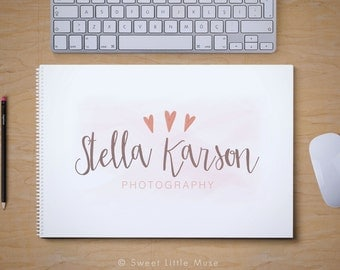Photography Logo - premade photography logo - heart logo - hand drawn logo heart logo