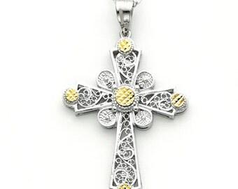 14k yellow & white gold cross.