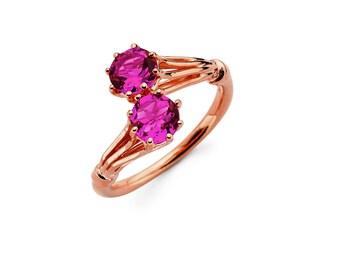 14K Rose Gold Pink Tourmaline Ring, Rose Gold Ring, Pink Tourmaline Ring, Rose Gold Jewelry, Pink Tourmaline Jewelry, Gemstone