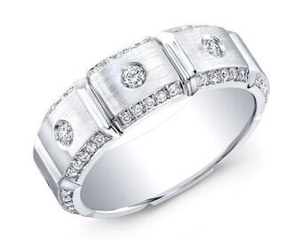 Men's Brick Design Diamond Wedding Band