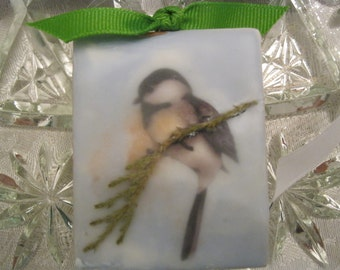 Mixed Media Encaustic Painting Ornament of a Chickadee