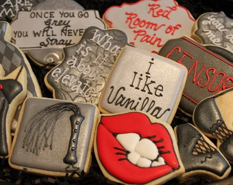 50 Shades of Grey Cookies, OPTION 2, Fifty Shades of Grey, Valentine's Day Cookies, Bachelorette, Lingerie Cookie 50 Fifty Shades Party