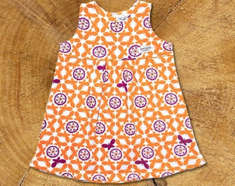 Organic Baby Dress: Orange Butterflies