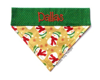 "Personalized Dog Bandana/ Holiday Dog Bandana/ Christmas Dog Bandana/ Over the Collar Dog Bandana/ ""Country Snowmen"""