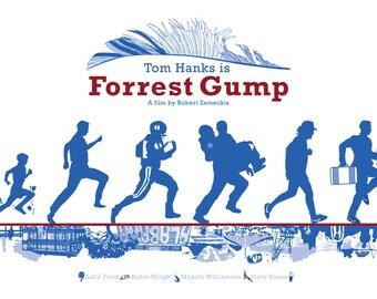 """Forrest Gump (1994) inspired movie poster, """"Run, Forrest! Run! #3"""", by Cutestreak Designs. 2014"""