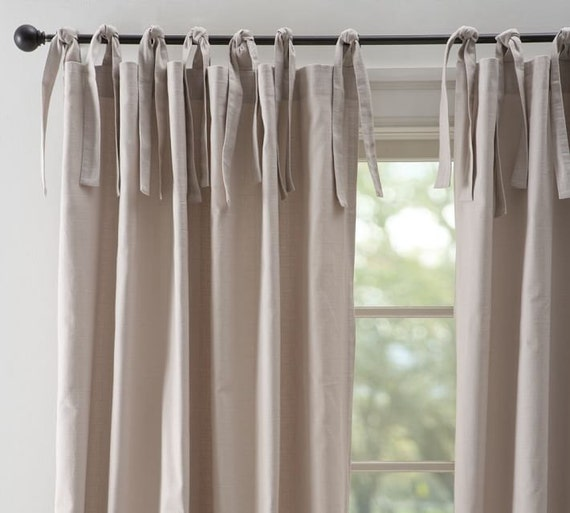 Natural Gray 52u0027u0027 Tie Top Cotton Curtains / Drapes / By TheNewHome
