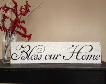 Bless Our Home Sign, Home Sign, Housewarming Gift, Wedding Gift, Home Decor, Birthday Gift, Gift For Her, Mothers Day Gift,Rustic Wall Decor