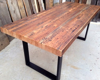 Custom Outdoor Indoor Exposed Edge Rustic Industrial Reclaimed Wood Dining Table CoffeeTableMade