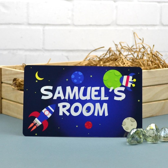 Space Door Sign Personalized Sign Kids Door Sign By Mirrorin