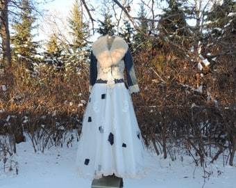 One of a Kind Wedding Dress Handfasting Dress Shabby Chic Rockabilly Country Western