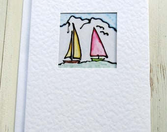 Mens card - Masculine card - greeting card - handmade - birthday card - blank card  - hand painted card - boat card - uk seller