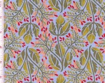 Scarlet by Pamela Mostek for Clothworks--1 yard--Leaves on Blue Background Fabric