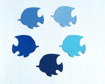"Blue Fish die cuts / - 2"",2.5"",3"",3.5"" -  Party, Baby Shower, Place Card, scrapbooking, crafts"