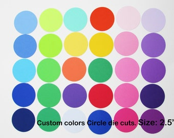 Paper Circle Die Cuts/ 2.5 inch/ Custom colors/ --choose your set size--
