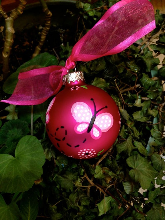 Butterfly Ornament Personalized Birthday Christmas Bauble