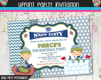 Winter Party Invitation - Sledding - Snow - Invite - Custom - Printable - Boy