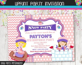 Winter Party Invitation - Sledding - Snow - Invite - Custom - Printable - Girl