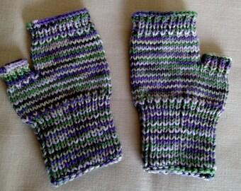 Hand knit Fingerless Gloves - Purple & green