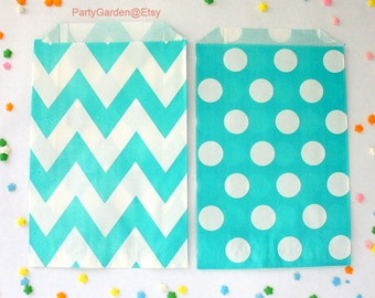 12  Aqua Chevron or Polka Dot Party Favor Bags -  Treat Candy Baking Gifts Cookies