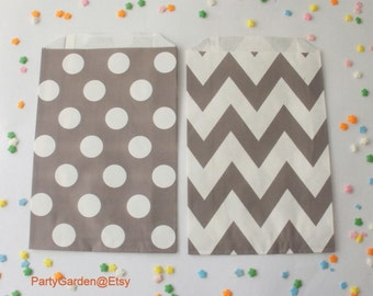 12  Gray Chevron or Polka Dot Party Favor Bags -  Treat Candy Baking Gifts Cookies