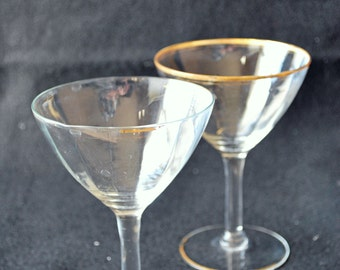 Vintage-Gold rim Champaign glass-Optic-FREE shipping