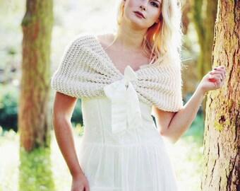 Bridal Cape Beige Wedding Shawl Bridal Shrug  Bridal Capelet  Bridal wrap shawl,