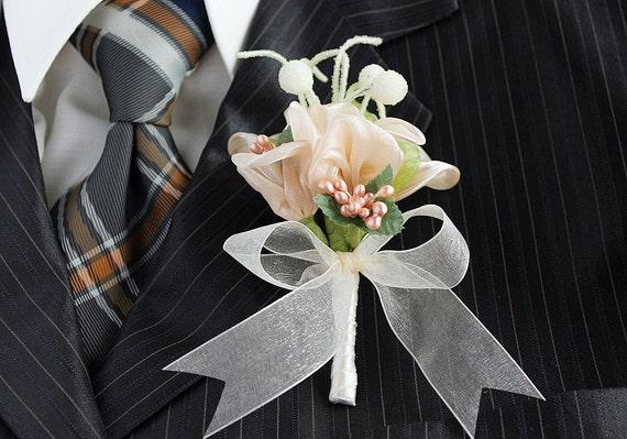 Peach Boutonniere Men's Buttonhole Groom Flower Corsage