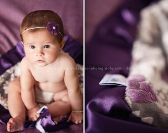 Mar Bella Minky Ibiza in Violeta Purple, Gray and White - Marbella, Baby Blanket, Damask, Grape, Plum, Lattice, Embossed Vine