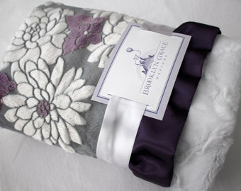 Mar Bella Ibiza Collection in Violeta Purple, Gray and White - Marbella, Baby Blanket, Damask, Grape, Plum