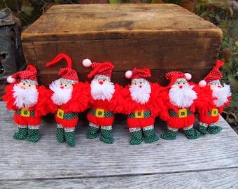 Vintage Yarn  Santa Ornaments - Country Christmas Yarn Santa Ornaments