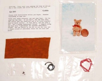 DIY Micro Mini Teddy Bear Kit & Pattern, Miniature Doll House Size 1-1/2 inch, Fast Shipping Make Your Own Mini Artist Bear
