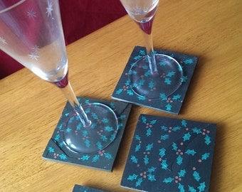 Christmas Holly Slate Coasters - Set of 4