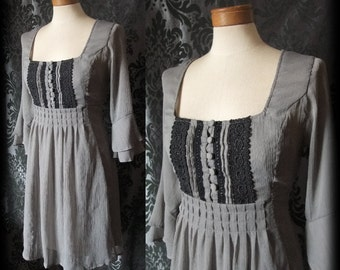 Goth Grey Black Lace Button Up MISFORTUNE Drape Sleeve Tea Dress 8 10 Victorian