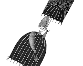 Illustration. Umbrella woman. Limited edition art print by Begoña Masiá.