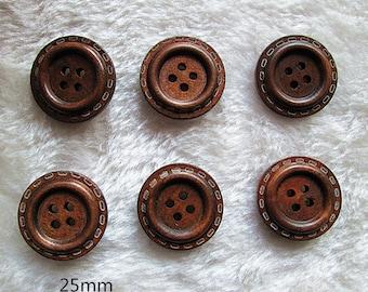 Wholesale Lot:  50 pcs vintage style 4 holes  wood  button   DIY  Scrapbooking  SUPPLies 25mm