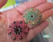 2 faux ceramic handmade polymer clay round beads /pendants made by Hilla (084)