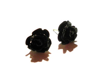 Black Rose Post Earrings