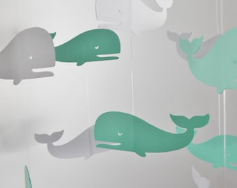Whale Baby Mobile, Nursery Mobile, Crib Mobile