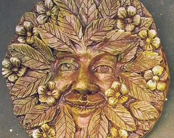 Spring Green Man plaque. Seasons of the Year, Ostara, Beltane, 1 in a set of 4