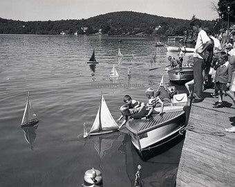 "vintage photo / wall art / black and white photography / boating image / ""model sailboat regatta 1954"" - SS-010"