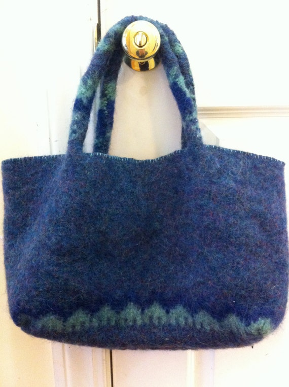 Upcycled Recycled Repurposed Blue and Green Felted Wool Sweater Purse, Tote, Eco-Friendly Gift