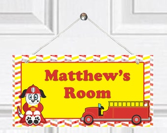 Personalized Child's Door Sign - Fire Truck theme
