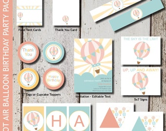 HOT AIR BALLOON 1st Birthday Party Invitations and Decorations - Printable - Instant Download