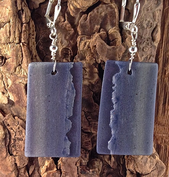 Felled Seam, Indigo, Polymer Clay Earrings, with Silver-plated Beads. Blue. Silver. Very Lightweight