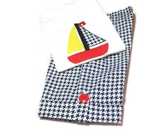 Toddler Boy Clothes -  Boy Shorts and shirt Set - Boy Summer Outfit - Sailboat For Boys - Boys Sailboat Outfit, Toddler Fashion, Boys Shorts