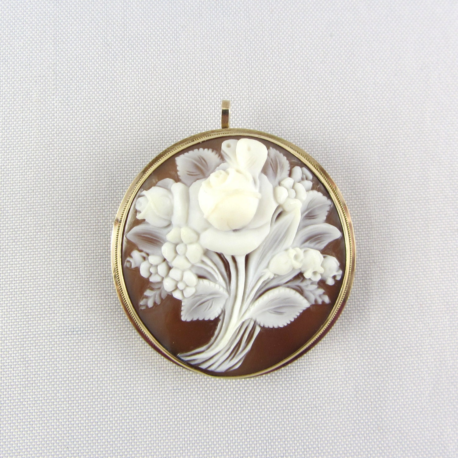 antique 14k gold cameo pendant pin brooch by