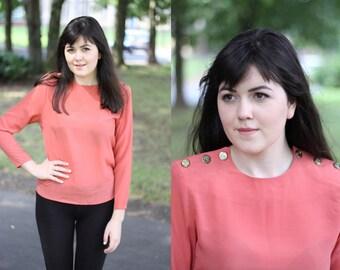 Vintage 1980s  Burnt Orange Military Blouse Button Shoulder Top Gold Metal Buttons Long-sleeved blouse
