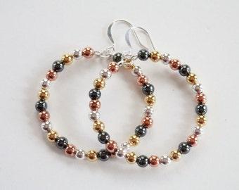 Mixed Metal Hoop Earrings - Dangle Hoop Earrings - Memory Wire Earrings - Gold - Silver - Copper - Gunmetal - Matching Bracelet Available