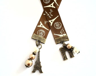 Paris Ribbon Bookmark, French Teacher Gifts, Paris France Book Jewelry, Eiffel Tower Charm and L'arc de Triomphe Paris Journal Accessories
